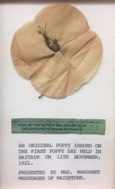 An original Poppy issued in November 1921, on display at The Poppy Factory - Credit Daniella Hadley